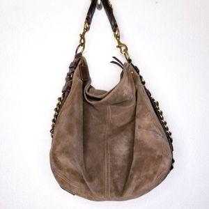 Coach XL Zoe Flint/Brass Suede Leather hobo bag